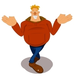 Happy man spread his arms wide to the sides and vector image