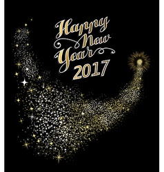 Happy New Year 2017 gold firework vector image