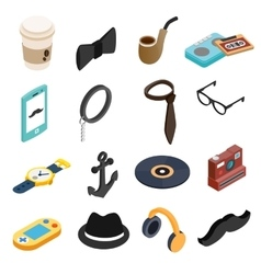 Hipster style isometric 3d icons set vector