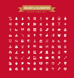 Holiday and celebration glyph icon set vector