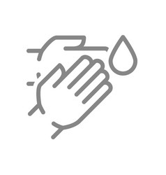 Human hands with disinfectant drop line icon vector