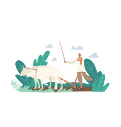Indian farmer in traditional clothes work rural vector