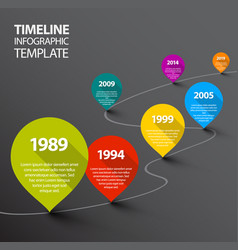Infographic dark timeline template with pointers vector