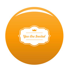 Invated label icon orange vector