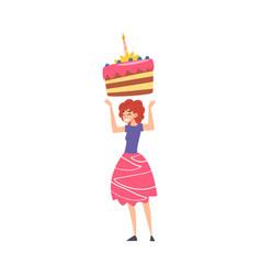 joyful girl with big piece cake happy person vector image