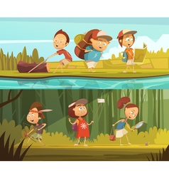 Kids Camping Banners Set vector image
