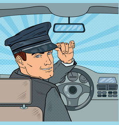 Limousine driver inside a car pop art vector