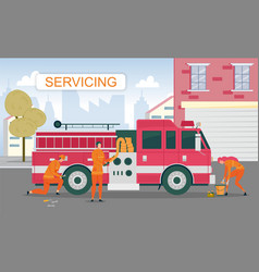 Maintenance servicing fire truck between call vector