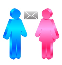 man woman and envelope vector image