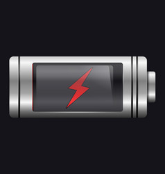 metal with glass battery red lightning symbol vector image