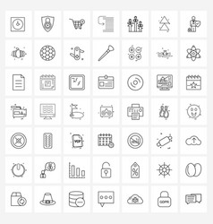 Mobile ui line icon set 49 modern pictograms vector