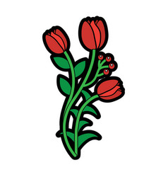 natural flowers berry stem leaves flora image vector image