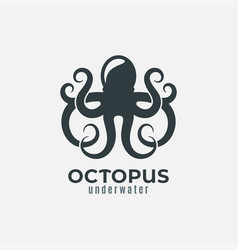 octopus animal logo design on white background vector image