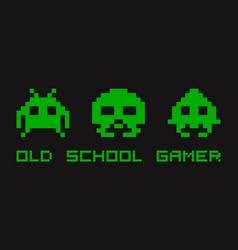 Old retro video gamer t-shirt template for print vector