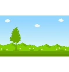On green background spring landscape vector