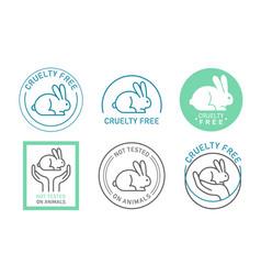 Organic cosmetics icons logos thin line set vector