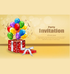 party invitation card with gifts and balloons vector image