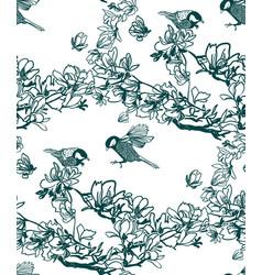 pattern plant engrave ink magnolia birds vector image