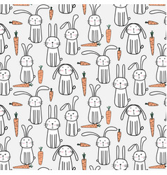 Pattern with hand drawn cute bunnies and carrots vector