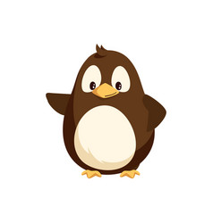 penguin waving right wing and sending greetings vector image