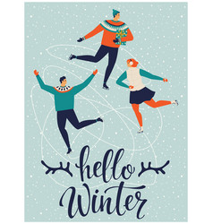 people are skating together hello winter vector image
