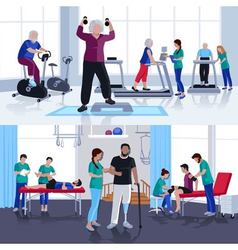 Physiotherapy Rehabilitation Center 2 Flat Banners vector image