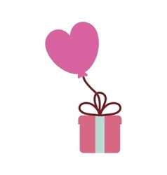 Pink gift box balloon heart festive valentine vector