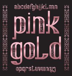 pink gold typeface rose golden patterned font vector image