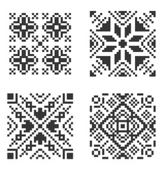 Pixel ethnic seamless pattern set vector
