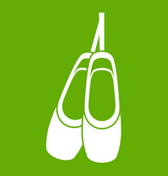 pointe shoes icon green vector image