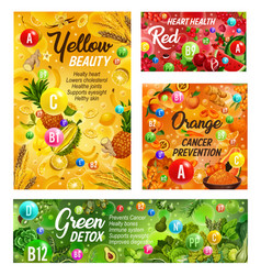 Rainbow diet vitamins healthy food nutrition vector