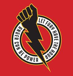 Raised fist lightning bolt anger protest badge vector