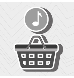 red basket and music isolated icon design vector image
