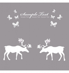 reindeer card with butterfly vector image