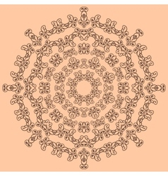 Round brown ornate pattern on beige background vector