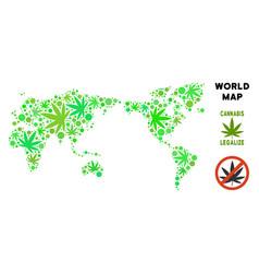 Royalty free marijuana leaves mosaic world map vector