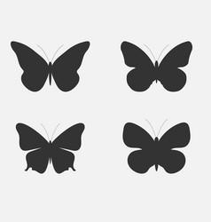 set of butterflies butterflies silhouettes vector image