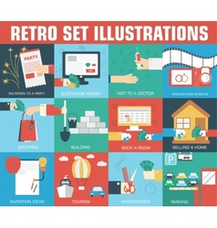 set of flat communication concepts backgro vector image