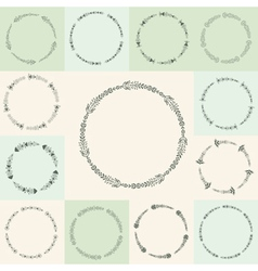 Set of hand-drawn flourish circle and frames in vector