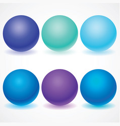 Set of multicolored spheres with shadows vector
