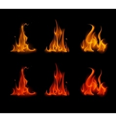 Set of Orange Red Fire Flame Bonfire on Background vector
