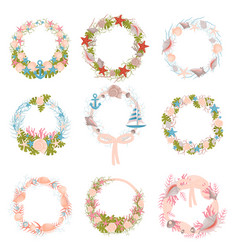 Set wall wreaths with a nautical theme vector