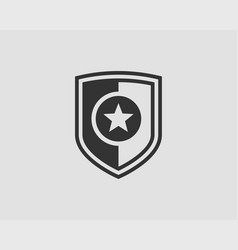 shield logo with star icon vector image