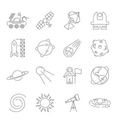 simple set space related line icons vector image