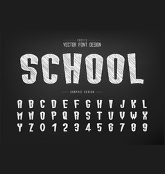 sketch cartoon font and alphabet chalk tall vector image
