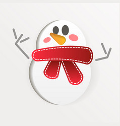 snowman with paper art style vector image
