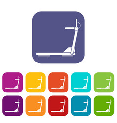 Sport treadmill running road equipment icons set vector