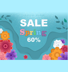 spring sale banner with paper flowers vector image
