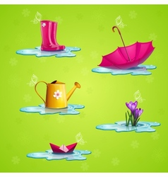 Spring set of icons vector image