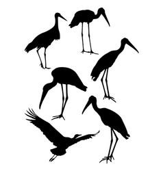 storks birds animal silhouette vector image